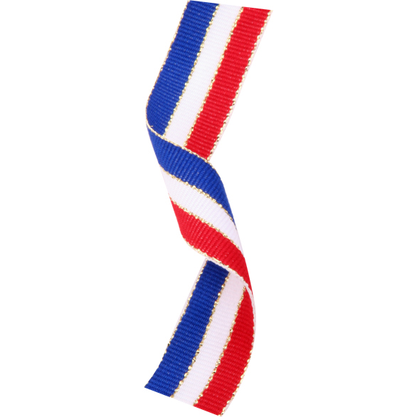 Gold Thread Trimmed Red, White and Blue Ribbon